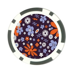 Bright Colorful Busy Large Retro Floral Flowers Pattern Wallpaper Background Poker Chip Card Guard