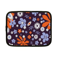 Bright Colorful Busy Large Retro Floral Flowers Pattern Wallpaper Background Netbook Case (small)