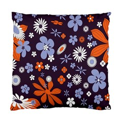 Bright Colorful Busy Large Retro Floral Flowers Pattern Wallpaper Background Standard Cushion Case (One Side)