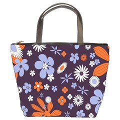 Bright Colorful Busy Large Retro Floral Flowers Pattern Wallpaper Background Bucket Bags