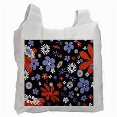 Bright Colorful Busy Large Retro Floral Flowers Pattern Wallpaper Background Recycle Bag (Two Side)