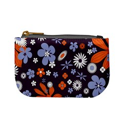 Bright Colorful Busy Large Retro Floral Flowers Pattern Wallpaper Background Mini Coin Purses
