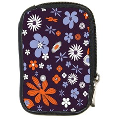 Bright Colorful Busy Large Retro Floral Flowers Pattern Wallpaper Background Compact Camera Cases