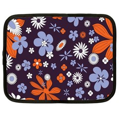 Bright Colorful Busy Large Retro Floral Flowers Pattern Wallpaper Background Netbook Case (XXL)