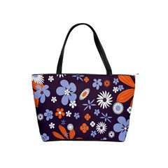 Bright Colorful Busy Large Retro Floral Flowers Pattern Wallpaper Background Shoulder Handbags
