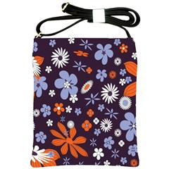 Bright Colorful Busy Large Retro Floral Flowers Pattern Wallpaper Background Shoulder Sling Bags