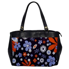 Bright Colorful Busy Large Retro Floral Flowers Pattern Wallpaper Background Office Handbags
