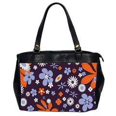 Bright Colorful Busy Large Retro Floral Flowers Pattern Wallpaper Background Office Handbags (2 Sides)