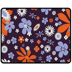 Bright Colorful Busy Large Retro Floral Flowers Pattern Wallpaper Background Fleece Blanket (medium)