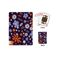 Bright Colorful Busy Large Retro Floral Flowers Pattern Wallpaper Background Playing Cards (Mini)