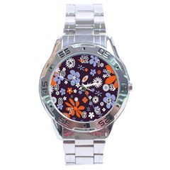 Bright Colorful Busy Large Retro Floral Flowers Pattern Wallpaper Background Stainless Steel Analogue Watch