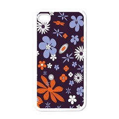 Bright Colorful Busy Large Retro Floral Flowers Pattern Wallpaper Background Apple Iphone 4 Case (white)