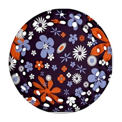 Bright Colorful Busy Large Retro Floral Flowers Pattern Wallpaper Background Ornament (Round Filigree)