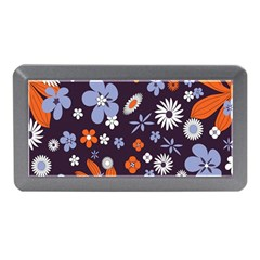 Bright Colorful Busy Large Retro Floral Flowers Pattern Wallpaper Background Memory Card Reader (Mini)