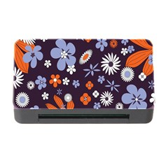 Bright Colorful Busy Large Retro Floral Flowers Pattern Wallpaper Background Memory Card Reader With Cf