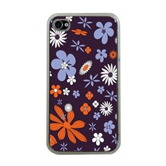 Bright Colorful Busy Large Retro Floral Flowers Pattern Wallpaper Background Apple Iphone 4 Case (clear)