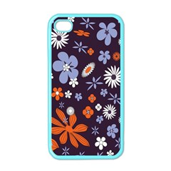 Bright Colorful Busy Large Retro Floral Flowers Pattern Wallpaper Background Apple Iphone 4 Case (color)