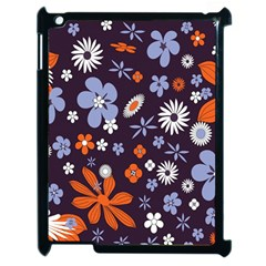 Bright Colorful Busy Large Retro Floral Flowers Pattern Wallpaper Background Apple iPad 2 Case (Black)