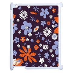 Bright Colorful Busy Large Retro Floral Flowers Pattern Wallpaper Background Apple Ipad 2 Case (white)