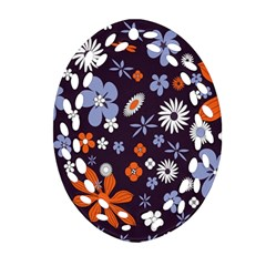 Bright Colorful Busy Large Retro Floral Flowers Pattern Wallpaper Background Ornament (Oval Filigree)