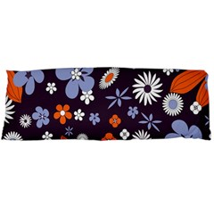 Bright Colorful Busy Large Retro Floral Flowers Pattern Wallpaper Background Body Pillow Case (Dakimakura)