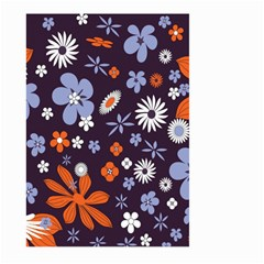 Bright Colorful Busy Large Retro Floral Flowers Pattern Wallpaper Background Large Garden Flag (two Sides)