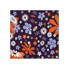 Bright Colorful Busy Large Retro Floral Flowers Pattern Wallpaper Background Acrylic Tangram Puzzle (4  X 4 )