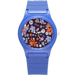 Bright Colorful Busy Large Retro Floral Flowers Pattern Wallpaper Background Round Plastic Sport Watch (s)