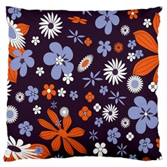 Bright Colorful Busy Large Retro Floral Flowers Pattern Wallpaper Background Large Cushion Case (Two Sides)