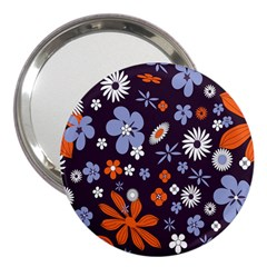 Bright Colorful Busy Large Retro Floral Flowers Pattern Wallpaper Background 3  Handbag Mirrors