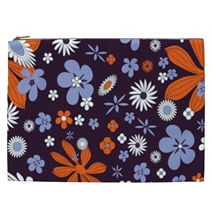 Bright Colorful Busy Large Retro Floral Flowers Pattern Wallpaper Background Cosmetic Bag (XXL)
