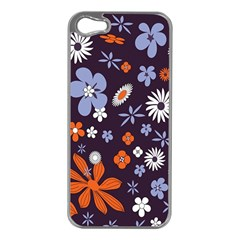 Bright Colorful Busy Large Retro Floral Flowers Pattern Wallpaper Background Apple Iphone 5 Case (silver)