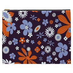 Bright Colorful Busy Large Retro Floral Flowers Pattern Wallpaper Background Cosmetic Bag (XXXL)