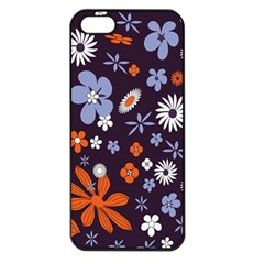 Bright Colorful Busy Large Retro Floral Flowers Pattern Wallpaper Background Apple iPhone 5 Seamless Case (Black)