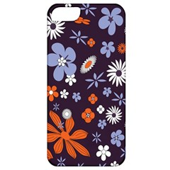 Bright Colorful Busy Large Retro Floral Flowers Pattern Wallpaper Background Apple iPhone 5 Classic Hardshell Case