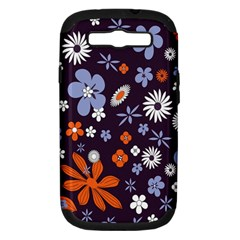 Bright Colorful Busy Large Retro Floral Flowers Pattern Wallpaper Background Samsung Galaxy S Iii Hardshell Case (pc+silicone)