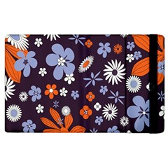 Bright Colorful Busy Large Retro Floral Flowers Pattern Wallpaper Background Apple iPad 2 Flip Case