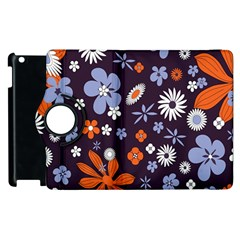 Bright Colorful Busy Large Retro Floral Flowers Pattern Wallpaper Background Apple iPad 2 Flip 360 Case