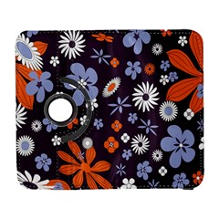 Bright Colorful Busy Large Retro Floral Flowers Pattern Wallpaper Background Galaxy S3 (flip/folio)