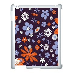 Bright Colorful Busy Large Retro Floral Flowers Pattern Wallpaper Background Apple iPad 3/4 Case (White)