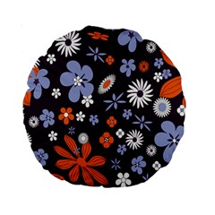 Bright Colorful Busy Large Retro Floral Flowers Pattern Wallpaper Background Standard 15  Premium Round Cushions