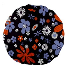 Bright Colorful Busy Large Retro Floral Flowers Pattern Wallpaper Background Large 18  Premium Round Cushions