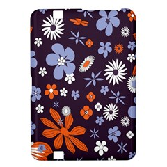 Bright Colorful Busy Large Retro Floral Flowers Pattern Wallpaper Background Kindle Fire Hd 8 9