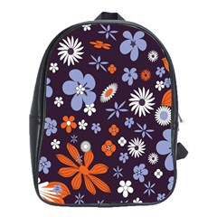 Bright Colorful Busy Large Retro Floral Flowers Pattern Wallpaper Background School Bags (XL)