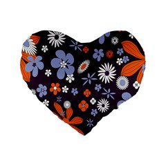Bright Colorful Busy Large Retro Floral Flowers Pattern Wallpaper Background Standard 16  Premium Heart Shape Cushions