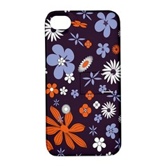 Bright Colorful Busy Large Retro Floral Flowers Pattern Wallpaper Background Apple Iphone 4/4s Hardshell Case With Stand