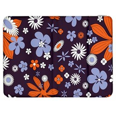 Bright Colorful Busy Large Retro Floral Flowers Pattern Wallpaper Background Samsung Galaxy Tab 7  P1000 Flip Case