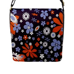 Bright Colorful Busy Large Retro Floral Flowers Pattern Wallpaper Background Flap Messenger Bag (L)