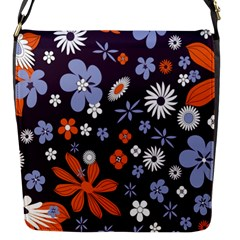 Bright Colorful Busy Large Retro Floral Flowers Pattern Wallpaper Background Flap Messenger Bag (S)