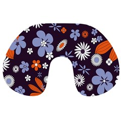 Bright Colorful Busy Large Retro Floral Flowers Pattern Wallpaper Background Travel Neck Pillows